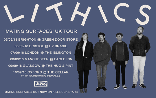 Lithics announce UK tour!  'Mating Surfaces' out now on Kill Rock Stars